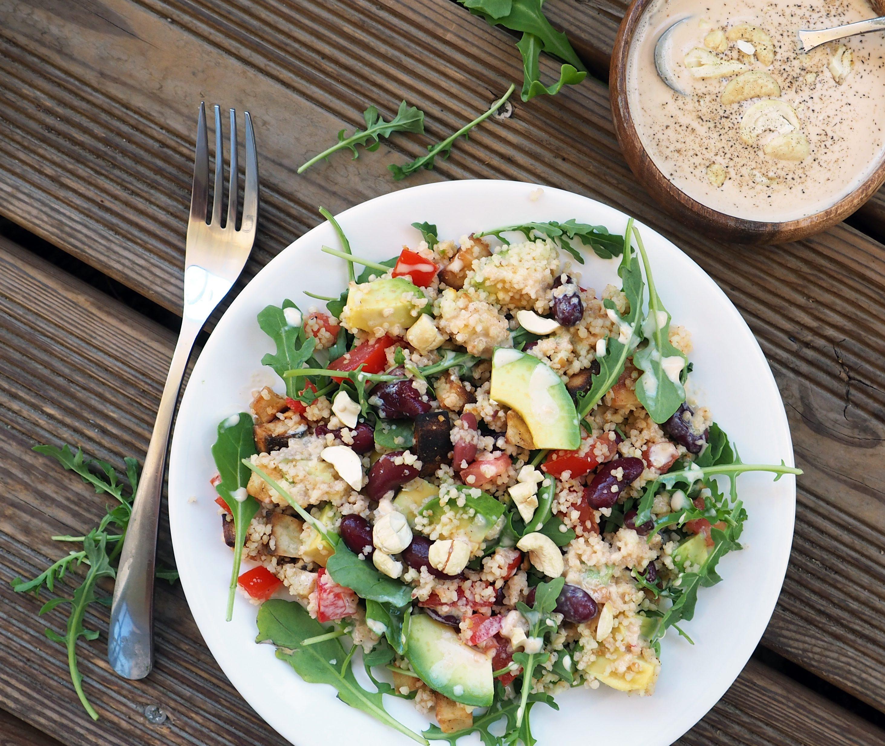 salade semoule avocat haricots rouges cajou