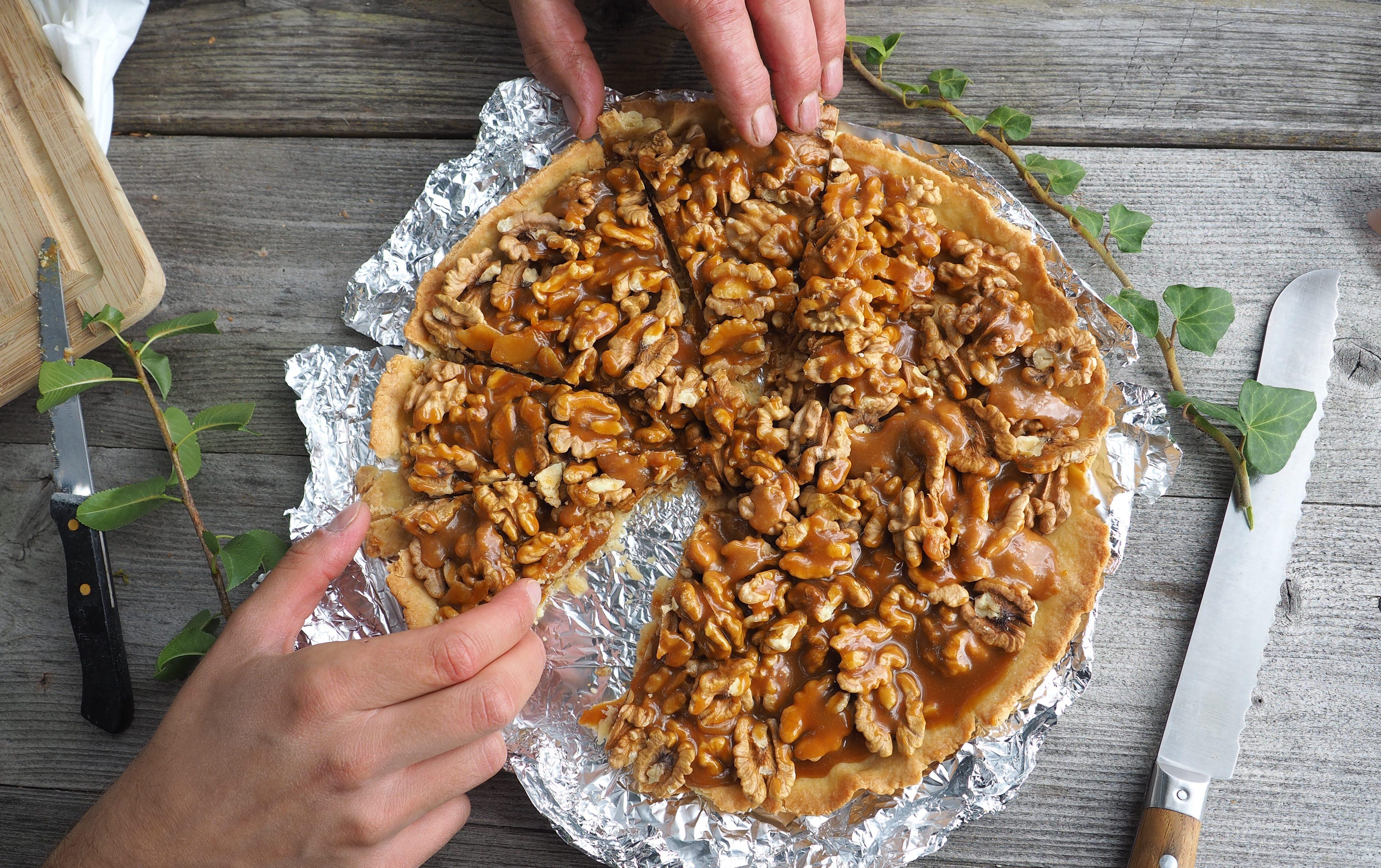 Tarte aux noix et caramel